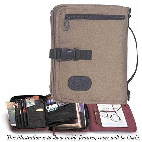 Khaki Brown 8 x 10.75 inch Reinforced Bible Cover Organizer with Handle Extra Large