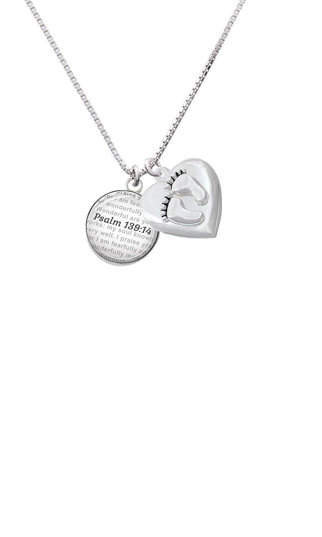 Domed Psalm 139:14 Custom Engraved Baby Feet Heart Locket Necklace