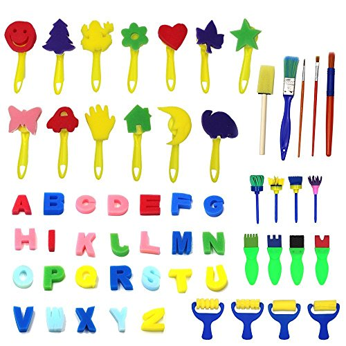 Kids Art & Craft 56 Pieces Sponge Painting Brushes Kids Painting Kits Early DIY Learning include Foam Brushes,Art Craftssponge brush, flower pattern brush, Brush set and 26 English letters - Foam Stamps Flowers