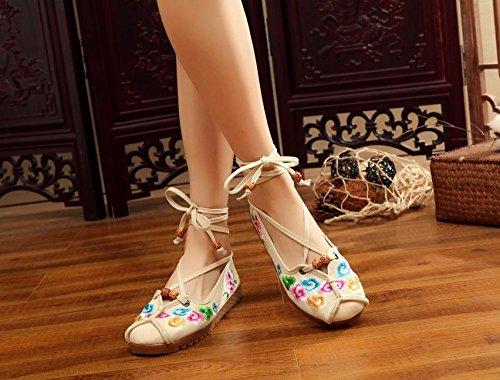 GXS Zapatos bordados, lenguado de tendón, estilo étnico, hembrashoes, moda, cómodo, zapatos de baile beige