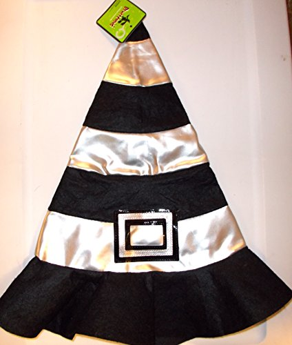 Halloween Silver Black Felt Witch Hat Child 3+ NWT ()