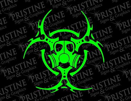 Biohazard Gas Mask Decal (Lime Green)
