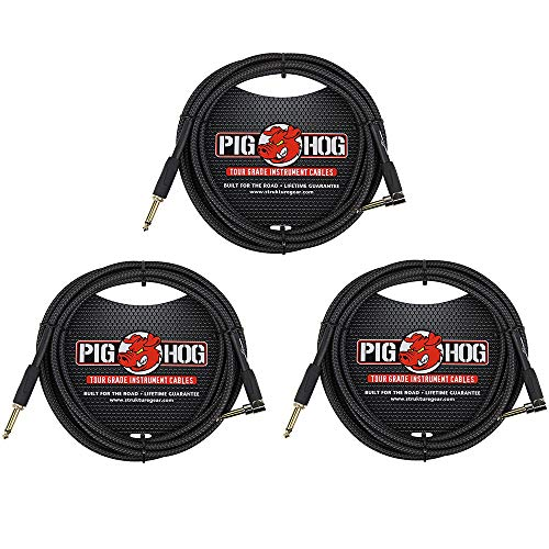 돼지 돼지 PCH10BKR 블랙 짠 악기 케이블 10 피트 직각-3 팩