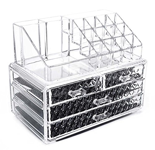 Vencer Diamond Pattern Jewelry & Cosmetic Storage Display Boxes Two Pieces Set VMO-024