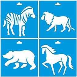 "Set of 4 - 4"" x 4"" (10cm x 10cm) Reusable Flexible Plastic Stencil for Graphical Design Airbrush Decorating Wall Furniture Fabric Decorations Drawing Drafting Template - Wild Animals Zoo Zebra Lion Bear Horse"