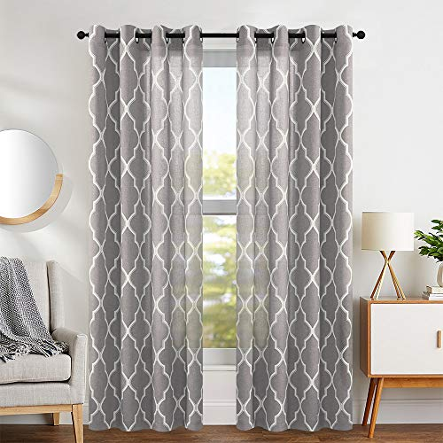 jinchan Moroccan Tile Design Linen Curtain Textured Lattice Grommet Top Window Panels/Drapes for Bedroom/Living Room Window/Patio Door, (Set of 2, 50 Inch x 95 Inch, Charcoal Grey)
