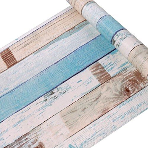Vanyear Contact Paper Self Adhesive Shelf Liner Wood Wallpaper Moisture Proof PVC Mat 45x300cm,Colorful Wood Grain
