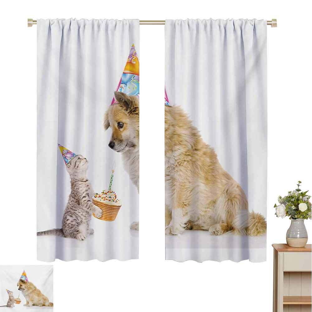 Gloria Johnson Kids Birthdaykitchen curtainCat and Dog Domestic Animals Human Best Friend Party with Cupcake and Candlecurtain holdbackMulticolor55 x 63 inch by Gloria Johnson
