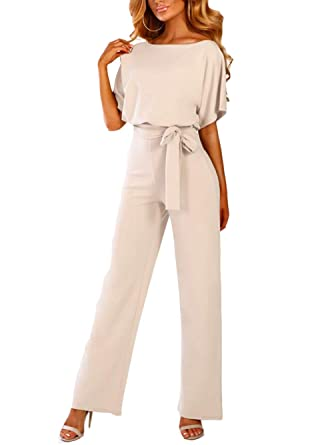 f2d8c847018 iChunhua Womens Summer Short Sleeve Wide Leg Jumpsuits with Belts Apricot  Small