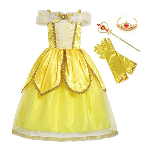 MUABABY Belle Princess Party Cosplay Costume Flower Dress (Yellow Two, 5 Years)… (Child Classic Costume Belle)
