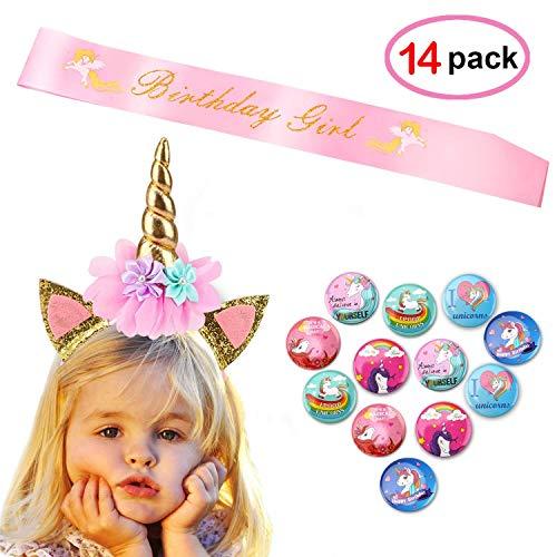 Unicorn Birthday Girl Set(14pack),Konsait Gold Glitter Unicorn Headband   Pink Satin Sash   Unicorn Birthday Buttons- Unicorn Cosplay Costume Accessories for Unicorn Birthday Party Gift Favor Supplies for $<!--$9.99-->