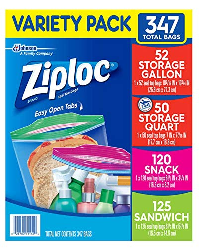 A Ziploc Double Zipper Bag, 347 Variety Pack, (4 Sizes Variety, 347-Count)