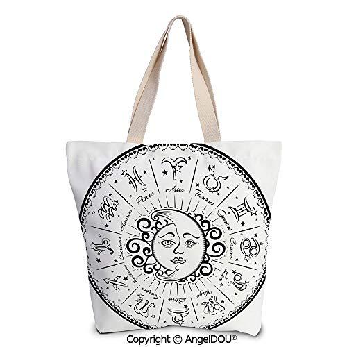 SCOXIXI Zodiac Decor printed Tote Schoolgirl Bag Ladies Shopper Canvas Bags - Tap Handle Surfboard