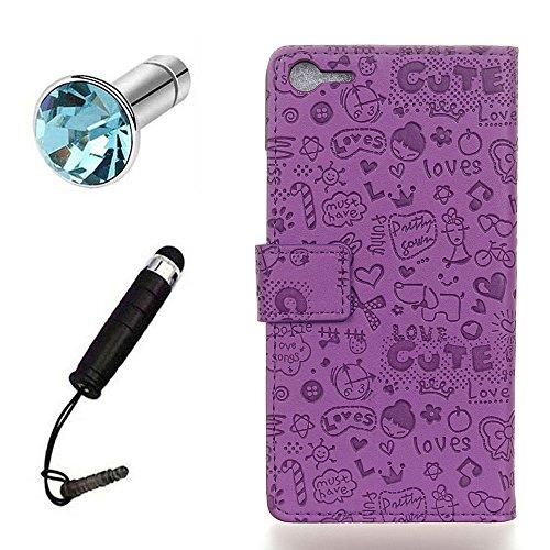 Lusee® PU Caso de cuero sintético Funda para Meizu MeiLan E2 5.5 Pulgada Cubierta con funda de silicona botón pequeña bruja rojo rosa pequeña bruja lilac