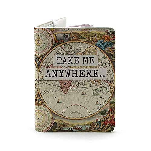 Take Me Any Where (Both Sides Printed) - Wanderlust Collection - Leather Vintage Map - Passport Holder - Travel Accessories