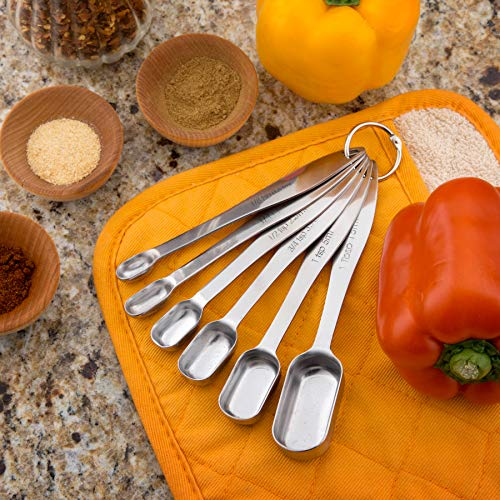 Spring Chef Heavy Duty Stainless Steel Metal Measuring Spoons for Dry or Liquid Fits in Spice Jar Set of 6