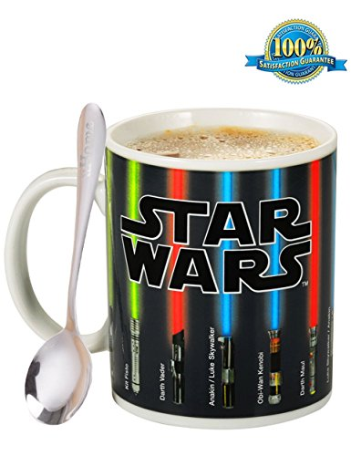 Coffee Mug - Star Wars Lightsaber Heat Chage Mug - Star Wars Cup 100 Percent Ceramic - Not Dishwasher or Microwave Safe - 12 Fl. Oz - Black - with Premium Stainless Steel Coffee Spoon