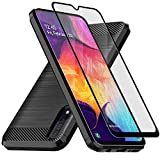 Muokctm Samsung Galaxy A50 Case, with Tempered Glass Screen Protector, Slim Soft TPU Protective Rubber Bumper Case Cover for Samsung Galaxy A50 Phone