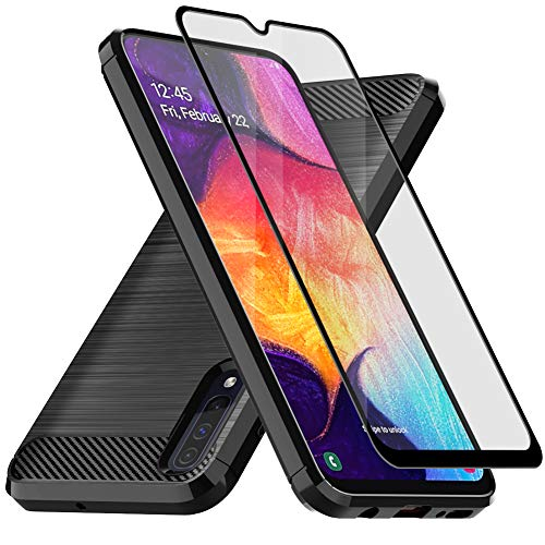 ase, with Tempered Glass Screen Protector, E-outfit Slim Soft TPU Protective Rubber Bumper Case Cover for Samsung Galaxy A50 Phone (Black) ()
