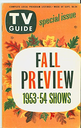 1953 TV Guide Sep 18 Fall Preview 1953-54 Season - Detroit Edition Very Good to Excellent (4 out of 10) Used Cond....