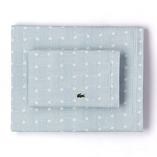 Cameo Cover Set (Lacoste 100% Cotton Percale Sheet Set, Geo Compass Print, Cameo Green, Queen)
