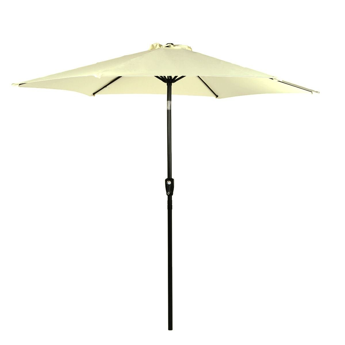 9 Feet 6 Rids Aluminum Outdoor Market Yard Beach Patio Umbrella Light weight 180D polyester and UV protection w/ Crank 276-Beige color by STARWORLD