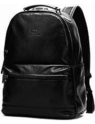BISON DENIM Vintage School Backpack Genuine Leather Book Bag College Daypack Black Fit 14 In Laptop Black
