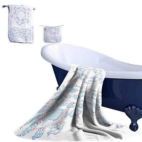 (Leigh home Bath Towel Set,Fish painte by line Art deep Trout Salmon River Fish sea Fish Scales Natural Cotton Comfortable Super Soft Luxury (3 Towels))