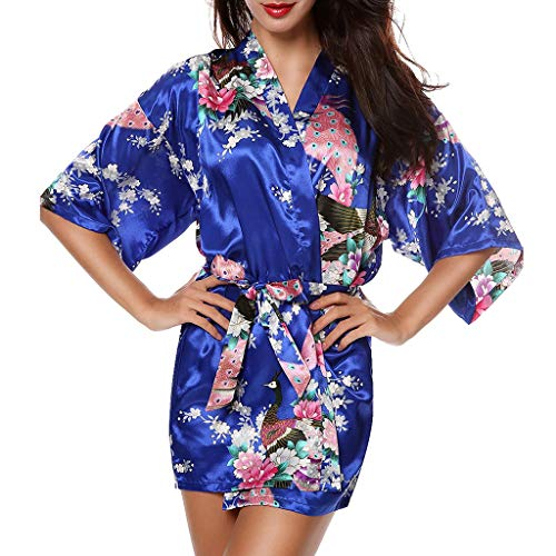 Chinese Royal Style Peacock Feather Print Queen Pajamas Bathrobe Attractive Sexy Silky Casual Thin Sleepwear DIMOR Blue -