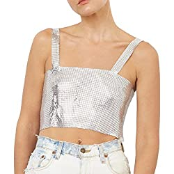 Silver Sequin With Chain Strap T-Shirt