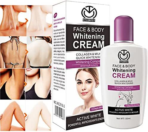 STCorps7 120ml Beauty Face,Body Skin Whitening Cream for Body Face Dark Skin Bleaching Lotion Facial Cream