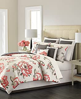 Martha Stewart Collection Peony Blossom 9 Piece Queen Comforter Set Multi  Coral