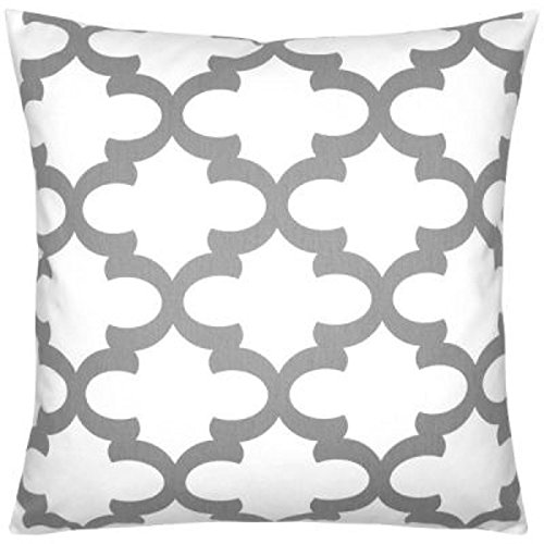 Euro pillow Sham Grey trellis Pillow Cover. large bed Throw Pillow. Fynn White Moroccan pattern Toss Pillows. square Cushion. Bed dorm. Pillow Cover. Pillow Sham 26