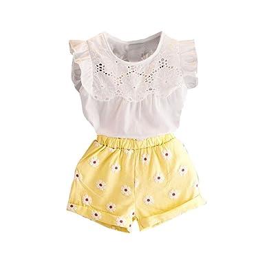 f24464b1d6fb8 Amlaiworld ❤️Ensembles de Bébé Filles Bébé Filles Imprimer T-Shirt sans  Manches + Shorts + Ceinture Tenues Vêtements Ensemble pour Enfant ...