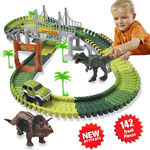 HOMOFY Dinosaur Toys 142Pcs Slot Car Race Track Sets with Flexible Tracks 2 Dinosaurs, 1 Military Vehicles, 4 Trees, 2 Slopes, 1 Double-Door & 1 Hanging Bridge for Childrens Gift