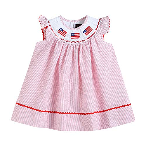 (Lil Cactus 32161014093 Bishop Dress Pink Seersucker USA Flags)