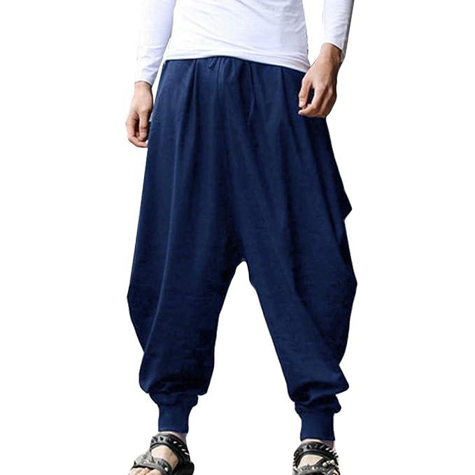 Hombre Pantalones Harem - Cómoda Cintura Elástica Pantalones con Cintura Moda Color Sólido Casuales Yoga Hippies Pantalones Tallas Grandes S-2XL