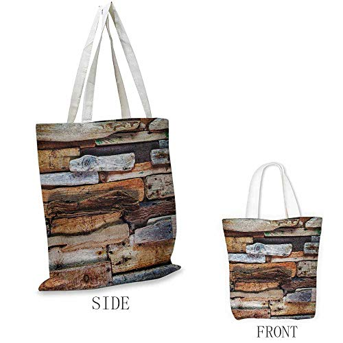 Driftwood Craft canvas shopping bag Wooden Theme Driftwood and Knotty Planks in the Vintage Style Design Digital Image Can also be loaded with a laptop W15.75 x L13.78 Inch Brown ()