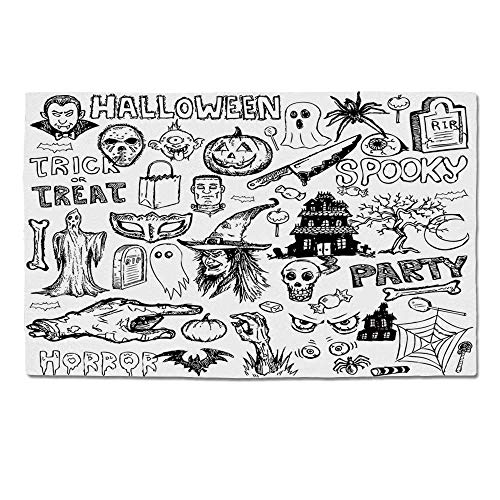 YOLIYANA Vintage Halloween Durable Door Mat,Hand Drawn Halloween Doodle Trick or Treat Knife Party Severed Hand Decorative for Home Office,One Size]()