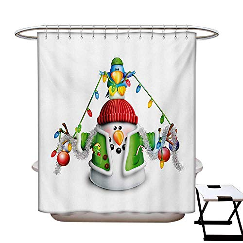 - BlountDecor Snowman Shower Curtain Customized Cartoon Whimsical Character with Christmas Garland Blue Bird Various Xmas Elements Bathroom Accessories W72 x L84 Multicolor