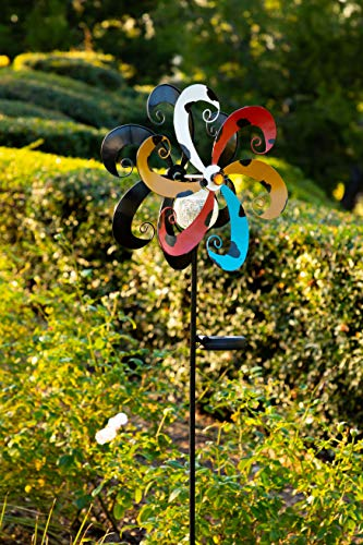 Alpine Corporation YCC212SLR Solar Metal Windmill with Ball, Multicolor