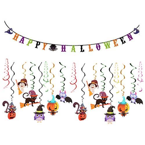 Halloween Set Decorations (Halloween Decorations Set Includes 24 Ct Cute Halloween Hanging Swirl Decoration and 1 Pack Happy Halloween Banner For Kids Halloween)
