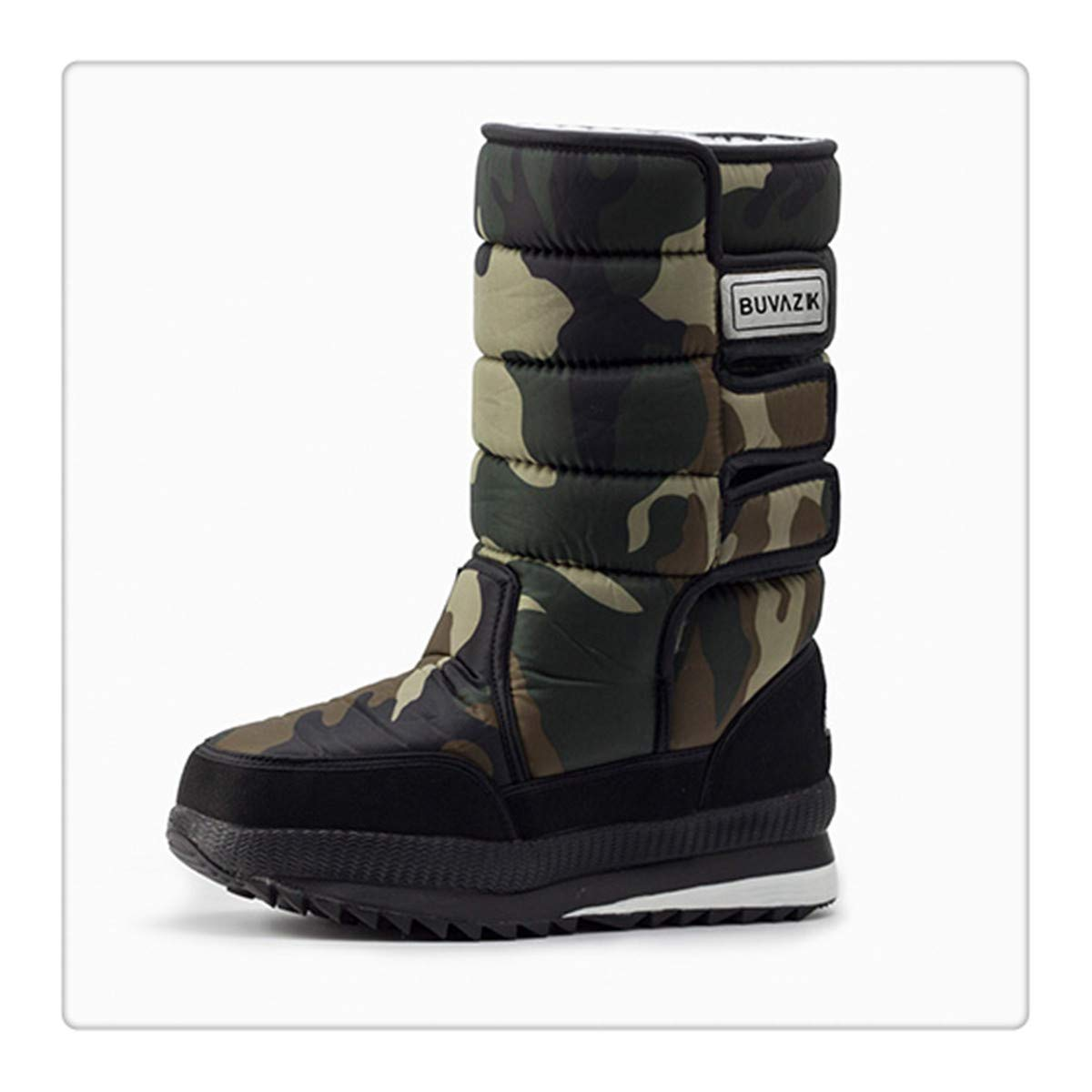 Hbvza Male Thickening Thermal Waterproof Snow Boots Fabric Inside Warm Knee-High Shoes