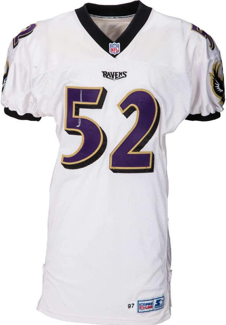Ray Lewis Game Used Worn 1997 Baltimore Ravens Jersey Pounded 184 Tackles Unsigned Nfl Game Used Jerseys At Amazon S Sports Collectibles Store