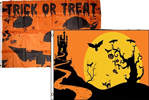 ALBATROS 3 ft x 5 ft Happy Halloween 2 Pack Flag Set Combo #35 Banner Grommets for Home and Parades, Official Party, All Weather Indoors Outdoors -