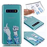 Galaxy S10 Case, for S10 6.1'' Display, MerKuyom Lightweight [Clear Crystal Transparent] Slim-Fit Flexible Gel Soft TPU Case Cover for Samsung Galaxy S10 6.1-inch, W/Stylus (Cool Fuck You Pattern)