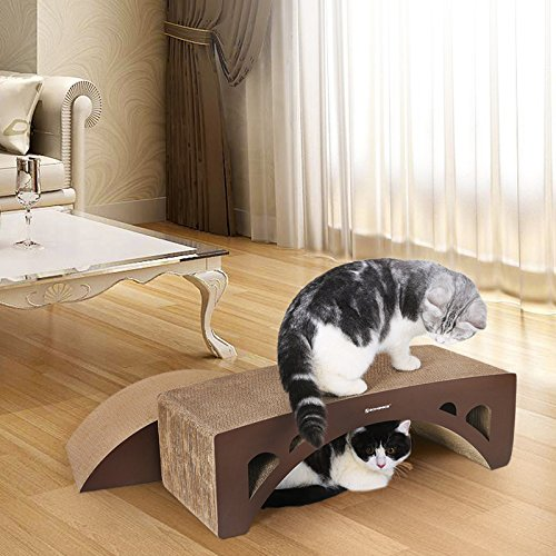 SONGMICS-2-in-1-Cat-Scratcher-Lounge-Pad-Cardboard-Brown-UPCS60Z