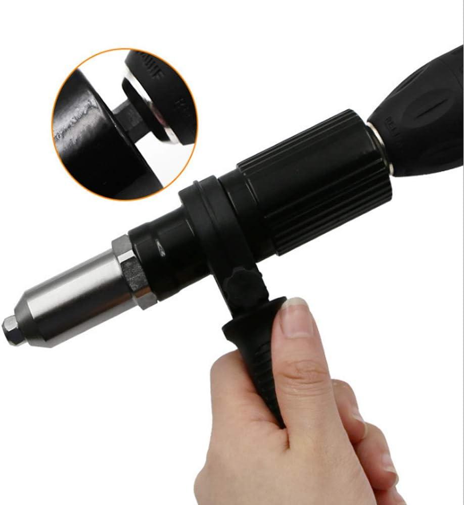 Adaptador de taladro para pistola de remachadora el/éctrica inal/ámbrica con cabezal de remache y llave con mango de 2,4//3,2//4,0//4,8 mm de di/ámetro herramienta de remachado