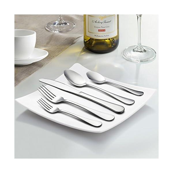 LIANYU 20 Piece Silverware Flatware Cutlery Set, Stainless Steel Utensils Service for 4, Include Knife Fork Spoon… 6
