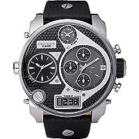 Diesel Men's DZ7125 Black SBA Oversized Dual-Display Stainless Steel Watch